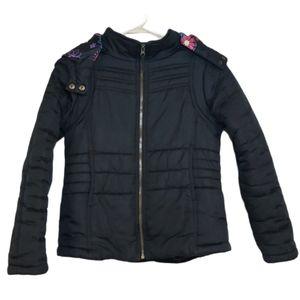 Rothschild girls black winter coat size med 10-12